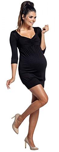 Zeta Ville - Premamá vestido mini túnica - cintura imperio - para mujer - 957c Negro
