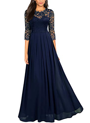 - Miusol Women's Formal Floral Lace Wedding Bridesmaid Maxi Dress,X-Large,Navy Blue