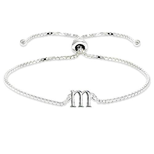 (Sterling Silver M Letter Initial Alphabet Name Personalized 925 Silver Adjustable Bolo Bracelet)