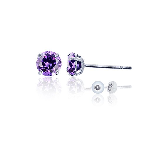14K White Gold 4mm Round Amethyst Stud ()