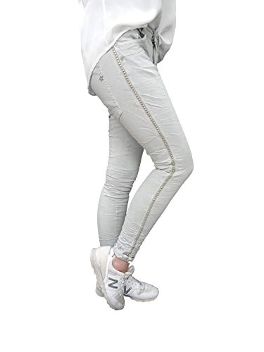 Grigio Ragazzo Righe Galon Jewelly Donna Stretch Pantaloni Larghi By Borchie Lexxury Zw6vS