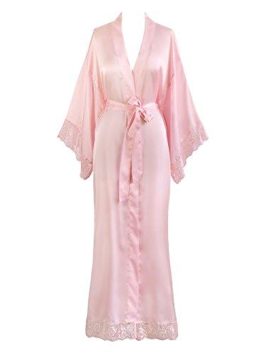Old Shanghai Women's Kimono Robe Long - Lace Trim (Light Pink) - Dressing Robe