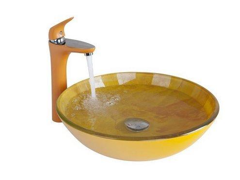GOWE Soild Brass Basin Faucet+Orange Bathroom Sink Washbasin Hand-Painted Lavatory Bath Combine Set Faucet,Mixer Tap 2