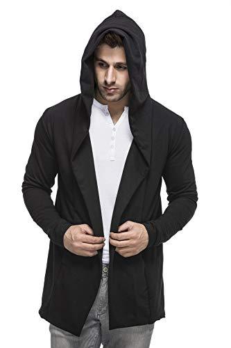 Easyvibe Men's Full Sleeve Hooded Neck Cotton Blend Cardigan Black Large ()