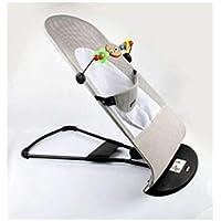 Hamaca, silla, color gris y blanco, mecedora para Bebés, plegable y portátil. Ajustable con 3 diferentes posiciones de…