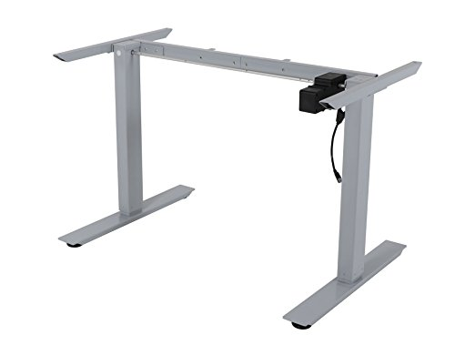 Desk Frame Legs - Stand Up Sit Down - Electric Motorized Lift - Height and Width Adjustable - Office Workstation Gaming Computer Table - Silver