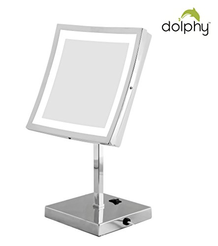 Dolphy Square LED Tabletop Shaving & Makeup Vanity Mirror - 8 Inch Commercial Restroom Fixtures at amazon