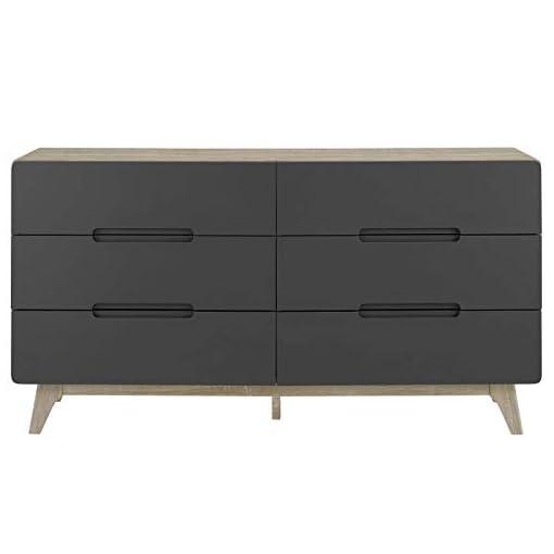 Bedroom Modway Origin Contemporary Mid-Century Modern 6-Drawer Bedroom Dresser in Natural Gray modern dressers