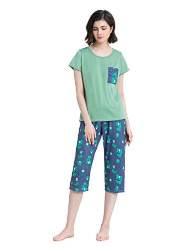 YIJIU Women's Short Sleeve Tops and Capri Pants Cute Cartoon Print Pajama Sets Green