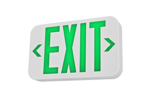 (LED Emergency Exit Sign GREEN Compact Battery Backup)