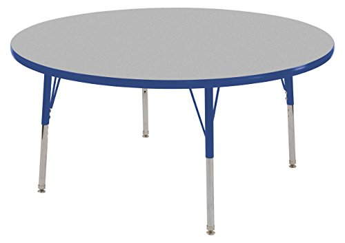 "UPC 763960578810, ECR4Kids 60"" Round Activity Table, Gray Top/Blue Edge, Toddler Legs/Swivel Glides, Eight 10"" Blue School Stack Chairs"