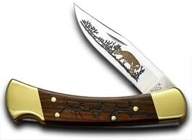 Buck 110 Wood Running Deer Folding Hunter 1 400 Custom Pocket Knife Knives