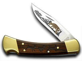 BUCK 110 Wood Running Deer Folding Hunter 1/400 Custom Pocket Knife Knives by Buck