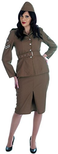 Ladies Ww2 Army Girl Costume For Military Soldier Fancy Dress Adults Womens Medium 12-14 Ladies by Partypackage (Girls Ww2 Costume)