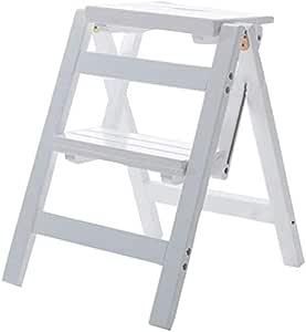 WYMF - Taburete de madera con 2 escalones, plegable, multifunción, escalera, estantería para casa, cocina, biblioteca, capacidad de 150 kg (3 colores) (color nogal): Amazon.es: Hogar
