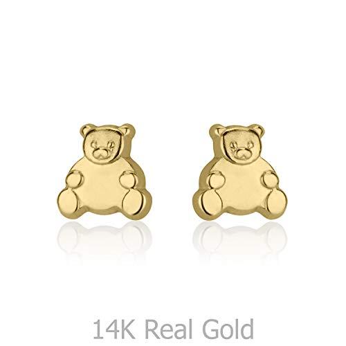 14K Solid Yellow Gold Bear Screw Back Stud Earrings for Girls Kids Gift Children