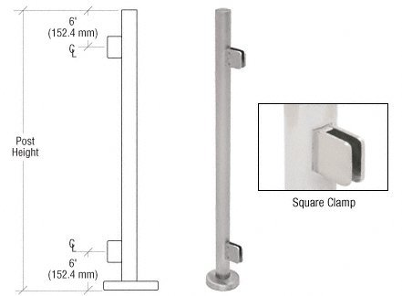 C.R. LAURENCE PS36EBS CRL Brushed Stainless 36'' Steel Square Glass Clamp End Post Railing Kit