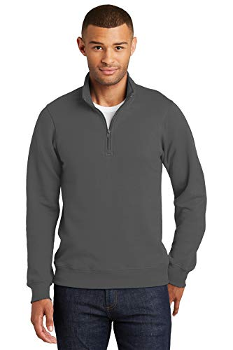 Port & Company Fan Favorite Fleece 1/4-Zip Pullover Sweatshirt S Charcoal