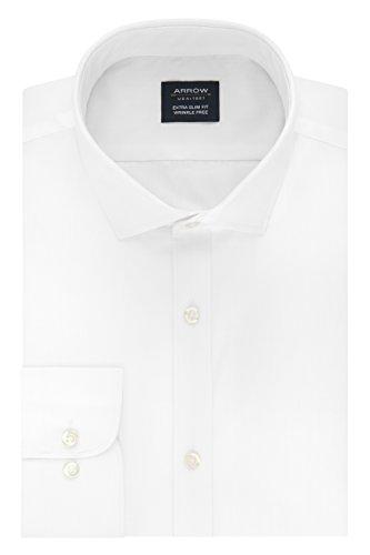 Arrow Men's Dress Shirt Poplin Xtreme Slim Fit Spread Collar, White, 18-18.5