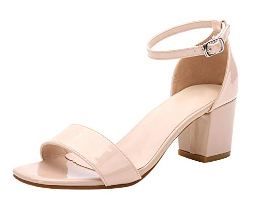 CAMSSOO Women's Open Buckles Chunk Low Heel Pump Sandals Nude Patent PU Size US7 EU37 ()