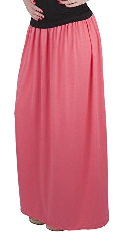 Mija C Jupe pour les femmes Long Maxi / beaucoup de couleurs 4001 Abricot