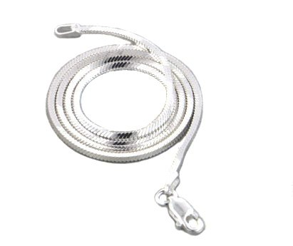 2mm Sterling Silver Diamond-Cut Square Magic Snake Chain Necklace 20