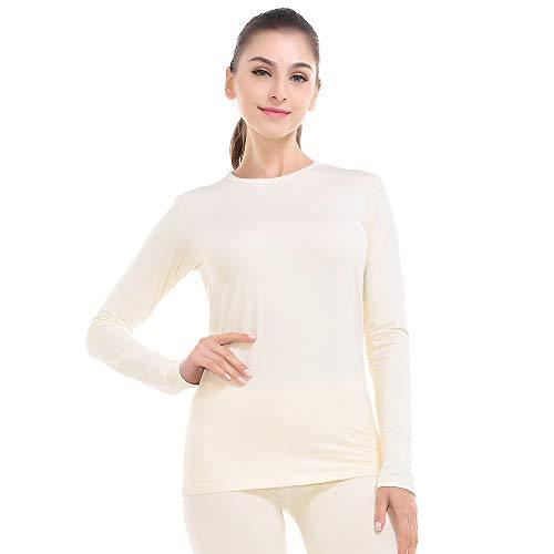 Thermal Underwear for Women Long Johns Set Fleece Lined Ultra Soft Beige Large