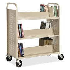 Double-Sided Booktruck, 39''''x19''''x46'''', Putty, Sold as 1 Each