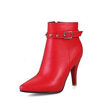 Heart&M Damen Schuhe Kunstleder Herbst Winter Modische Stiefel Stiefel Stöckelabsatz Spitze Zehe Booties Stiefeletten Schnalle Für Normal Kleid red