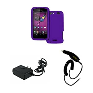 EMPIRE AT&T Motorola Atrix HD MB886 Silicone Skin Case Cover, Purple + Car Charger + Wall Charger