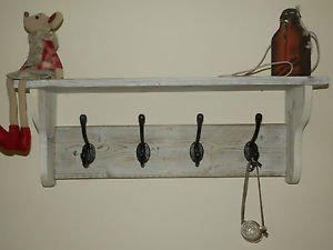 rusticwoodencrafts hat and coat rack with shelf shabby. Black Bedroom Furniture Sets. Home Design Ideas