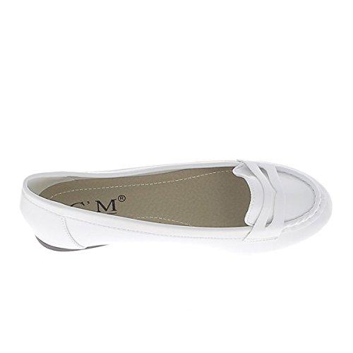 Lackierten weißen Ballerinas 0,5 cm mit Spitze aussehen Mokassins Ferse