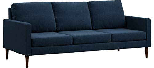Campaign 86-Inch Steel Frame Brushed Weave Sofa, Midnight Navy with Mahogany Stained Solid Oak Legs