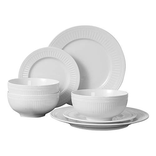 FIGULARK 18-Piece Ceramic Dinnerware Set for 6, White Embossed Unbreakable Kitchen Dishes Sets, Wedding Plates & Bowls…
