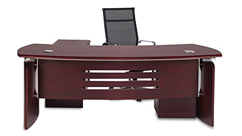 Harrison Mahogany Executive Desk with Rolling Return and File Cabinet -