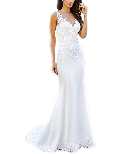 WeddingDazzle Double V-Neck Appliques Beach Wedding Dress Sexy Backless Boho Wedding Gowns US12 White