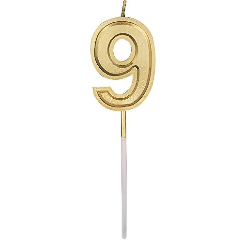 Glitter Happy Birthday Gold Numeral Candles Number 9 Cake Topper Decoration for Adults/Kids Party -Gold Number 9