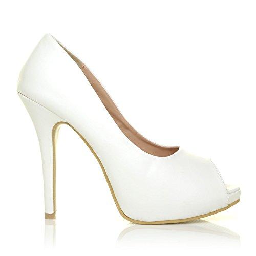 TIA Absatz Plateausohle aus Peeptoe Schuhe Weiße PU Leder mit hohem und RfRZ64