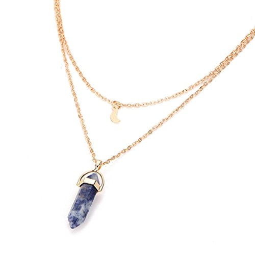 - Botrong Fashion Women Multilayer Irregular Crystal Opals Pendant Necklace Choker Chain (Dark Blue)
