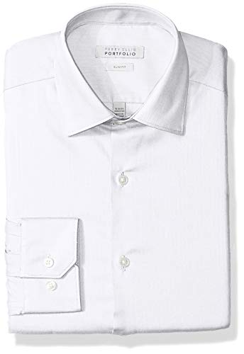 Perry Ellis Men's Slim Fit Wrinkle Free Dress Shirt, White Herringbone 15.5 32/33 - Herringbone Wrinkle Free Dress Shirt