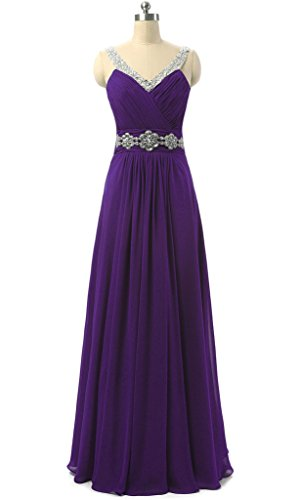 Vantexi Women's Beaded Straps Bridesmaid Long Prom Dresses Purple 14