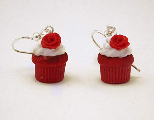 (Red Velvet Cupcake Polymer Clay Earrings on Sterling-Silver Hooks)