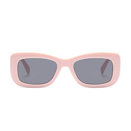 retros marco cuadradas Gris Gafas leopardo Rosa de Gafas rectangulares Moda sol de vintage de Huicai sol CUIqw