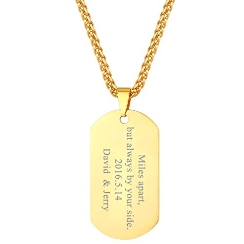 Custom Chains Pendants - PROSTEEL Personalized Dogtag Necklace Custom Engrave Name Pendant Chain Men Women Boy 18K Gold Palted Military Army Dog Tag
