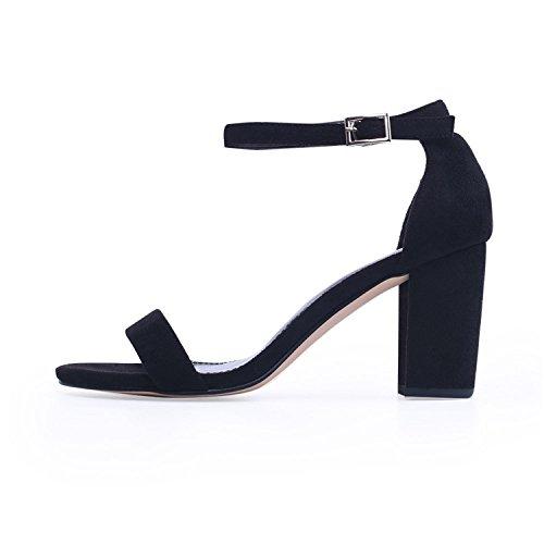de Talla Abierta Puntera Tacón Tacón Mujer Alto de Zapatos Verano 2018 Tacones Negro Mujer Tobillo 42 Sandalias Grande 1qAvXZw