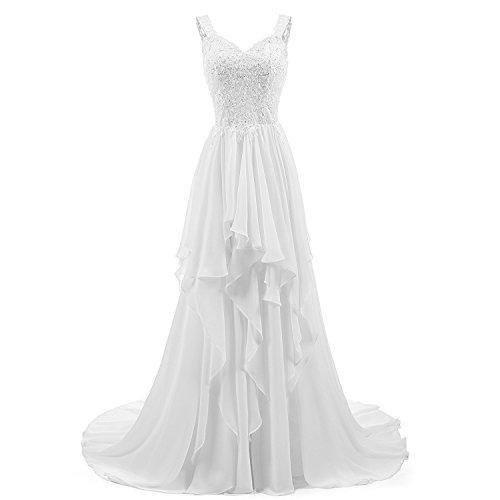 4e1dd305129 Abaowedding Women s Beach Wedding Dress Lace Chiffon Shoulder Straps V-Neck Bridal  Gown