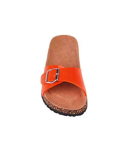 Sandalen Flache Damen Stil Designer Offene KRISP® Schlappen Orange qvZg4nPxwx