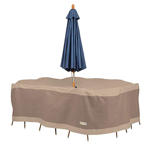 Duck Covers Elegant Rectangular/Oval Table and Chair Set Cover with Umbrella Hole (Table Cover Umbrella)