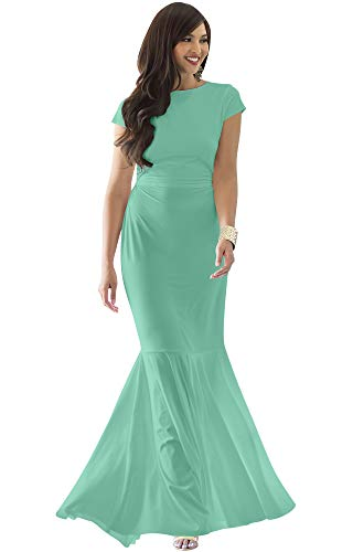 KOH KOH Womens Long Cap Short Sleeve Formal Sexy Evening Prom Cocktail Bridesmaids Wedding Party Guest Tube Flowy Cute Fishtail Gown Gowns Maxi Dress Dresses, Light Emerald Green L 12-14