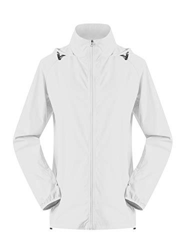 's Lightweight Jackets Waterproof Windbreaker Jacket UV Protect Running Coat M White ()